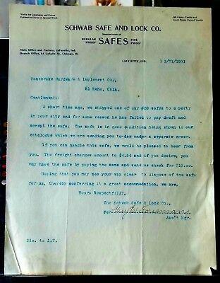 Antique Schwab Safe And Lock Co. Letterhead dated Dec. 21st, 1901
