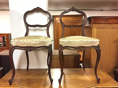 Pair of Louis XV rocaille 1900 style bedroom chairs