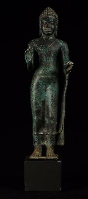 19th Century Antique Thai Bronze Standing Preaching Buddha Statue - 49cm/20""