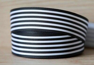 2M X 25mm Grosgrain Ribbon Craft DIY Cake Decoration Hair Bows - Black Stripes