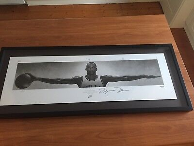 Michael Jordan Signed Wings Print Limited Edition And Framed Upperdeck