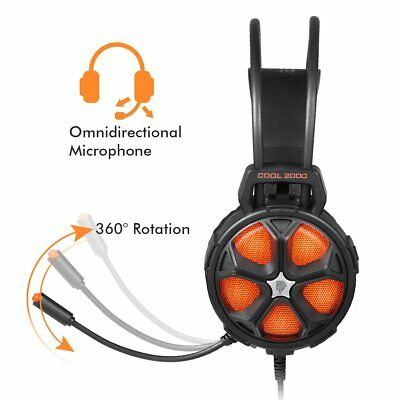 Wired Over Ear Stereo Gaming Headphone With Noise Cancelling Mic and LED Lights
