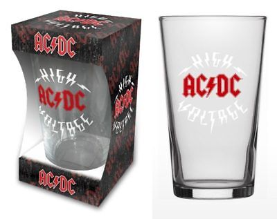 "Ac/dc - ""high Voltage"" Logo - Beer Glass - Official Product - U.k. Seller"
