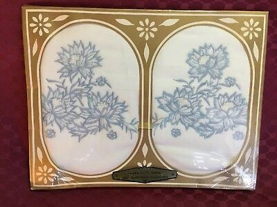 Vintage Embroidered Set Of 2 Pillowcases White & Blue In Original Packaging New