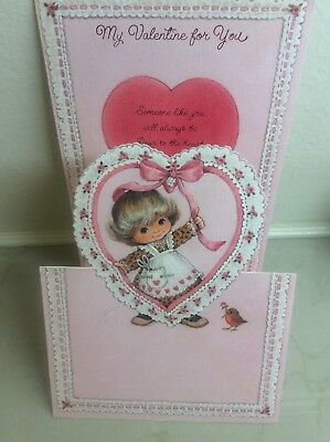 70's Little Girl Die Cut Pink Heart Fold Out Valentines Day Display Card Artist?