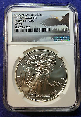 2015 (W) American Silver Eagle NGC MS69 Early Releases Eagle Label