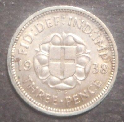 Great Britain 1938 George VI   3d Threepence Silver Coin High Grade