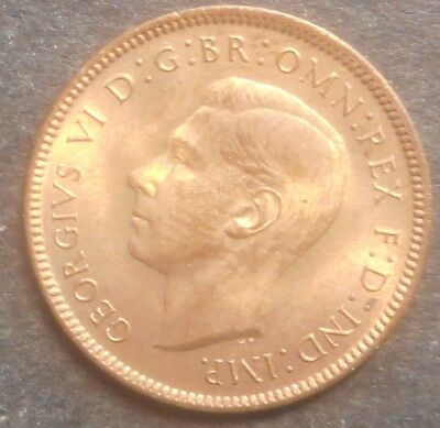 Great Britain 1947 George VI Farthing Coin UNC Red