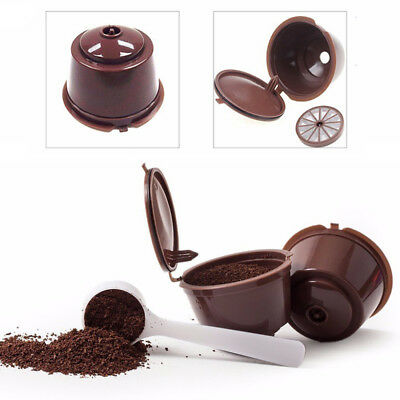 1~4Pcs Dolce Gusto Refillable Reusable Coffee Capsule Pods Cup With Coffee Spoon