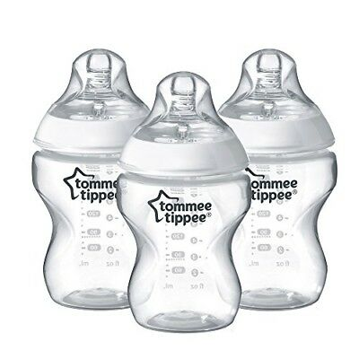 Tommee Tippee Closer to Nature Clear Bottles 260ml 3 Count BPA Free Anti-colic