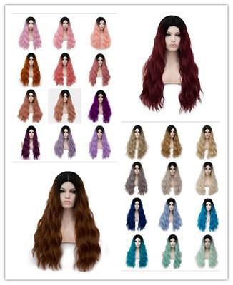 Amback Long Dark Roots Ombre Cosplay Halloween Wig for Women Curly Wavy Hair 24""