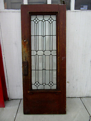 ~ Antique Door With Beveled Leaded Glass ~ 31.75 X 79 ~ Architectural Salvage ~