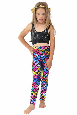 GIRLS METALLIC FISH SCALE LEGGINGS MERMAID KIDS SHINY FOIL CHILDRENS Multi 5-13