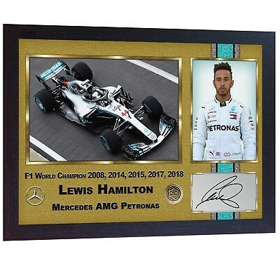 Lewis Hamilton 2018 New Formula 1 World Champion signed autograph printed Framed