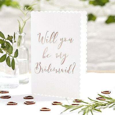 WILL YOU BE MY BRIDESMAID Invite Cards Foiled Rose Gold~5 Pk Wedding Invitations