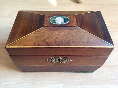 Beautiful Vintage Wooden Box with Inlaid Mother of Pearl Veneer Sewing Box