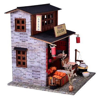 DIY Miniatures Dollhouse Wooden Model Kits LED Puzzle Toy Children Gifts