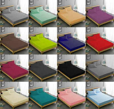 Extra Deep Fitted Sheet Bed Sheets Cotton RIch  Single Double King Super King !!