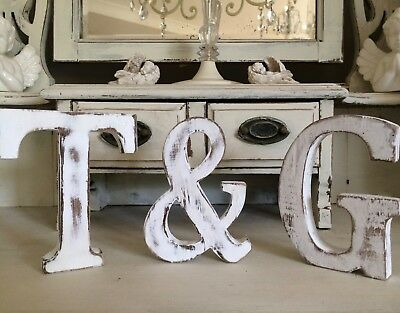 LARGE SHABBY CHIC VINTAGE WHITE WOODEN BABY NAME  A-Z INITIAL Alphabet Letters &