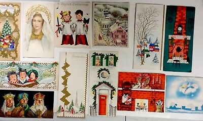 Unused Vintage Christmas Cards - Religious Carolers Church Bells - Lot of 12