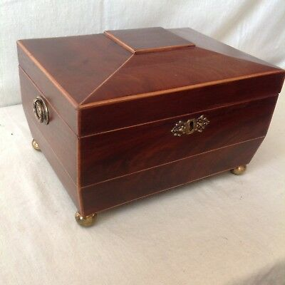 Elegant Victorian Sewing/ Jewellery Box In Flame Mahogany And Boxwood Banding