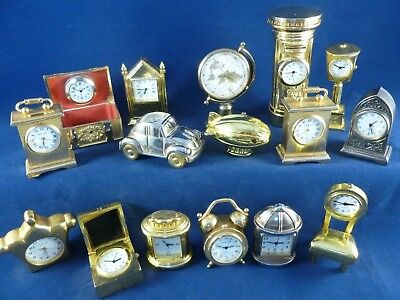 JOB LOT interesting Collection of 16 X vintage/collectable Miniature Clocks