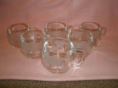 6 - 1970's Nestle Globe World Map Etched Glass Coffee Mugs Cups