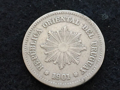 1901 Uruguay 5 Centesimos World Coin KM21 Five Cents South America Radiant Sun