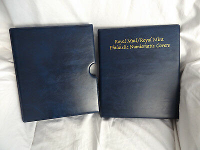 Royal Mail Blue Philatelic Numismatic Covers Stamp Album With 10 Pages Slipcase