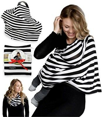 Qaqadu nursing cover/scarf and car seat cover in black and white striped