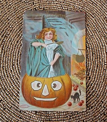 ANTIQUE Merry HALLOWEEN POSTCARD P Sanders 366 Witch Jack O Lantern Black Cat