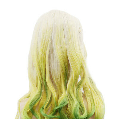 Gradient Color Long Wavy Curly Hair Synthetic Wigs For Festival Custom Party SA