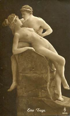 NUDE COUPLE POSING AS STATUE C. 1910-1920s OLD ORIGINAL postcard