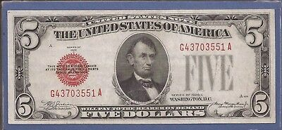 1928 C $5 United States Note (USN),Large Red Seal,Choice Crisp XF,Nice!