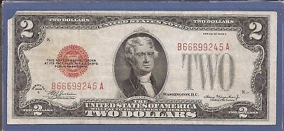 1928 C $2 United States Note (USN),Large Red Seal,circulated Very Fine,Nice!