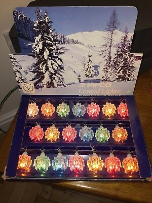 Vintage Christmas Lights  20 Pifco Crystal Lights Working Boxed plus spare bulbs