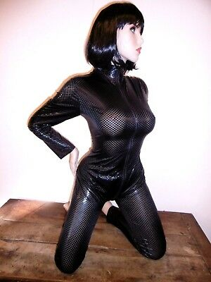 combinaison TU moulante grande taille catsuit shiny zip 2 voie ukO.S overall437/
