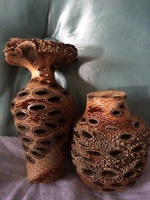 Wood Root Turned Candlestick X 2