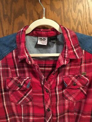 Womens XL Harley Davidson Short Sleeve Flannel