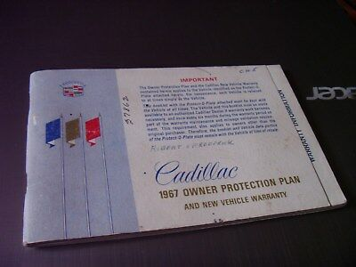 1967 Cadillac Owners Protection Plan And New Vehicle Warranty Manual Booklet