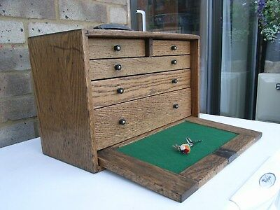 Vintage Wooden Oak Tool Chest/coin/medal Collectors Cabinet/sewing/craft Box