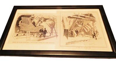 Vintage framed newspaper illustrations showing construction of Statue of Liberty