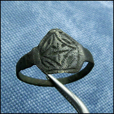 """ C R O S S ""  Ancient Bronze Byzantine Ring !!!"
