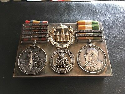 Stunning Silver James Dixon Sandwich Box With Boer War Medals Etc Attached