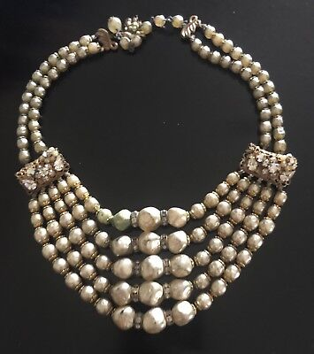 Vintage Signed 2x Five Strand Baroque Pearl Miriam Haskell  Necklace Excellent