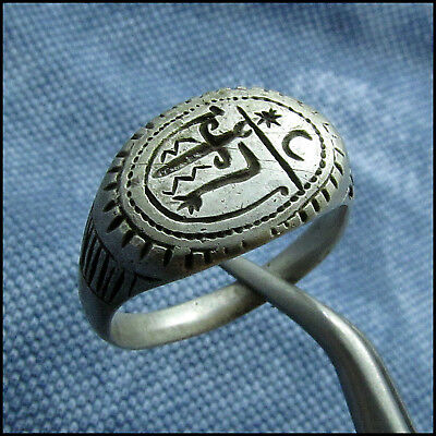 """ SWORD & MOON & STAR ""  ANCIENT SILVER BYZANTINE or MEDIEVAL RING !!!"