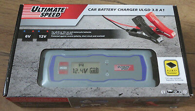 Ultimate Speed Car Motorcycle Van Battery Charger ULGD 3.8 A1 6/ 12v LCD Display