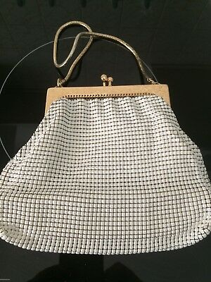 Vintage Glomesh Cream Purse. , Handbag , 50s 60s ,Pinup , Rockabilly