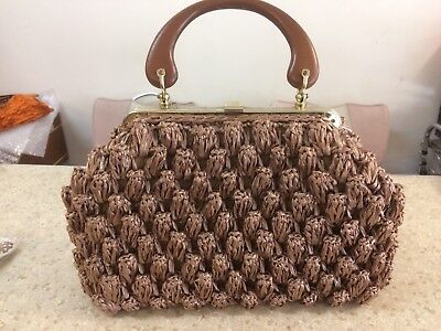Vintage 50s 60s  Purse.Handbag , Raffia , Crochet, Pinup , Rockabilly Retro