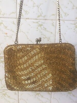 Vintage Beaded Sequin Purse. , Handbag , Gold , 60s ,Pinup , Rockabilly, Gatsby